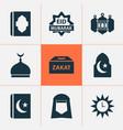 ramadan icons set with islam eid mubarak shawl vector image