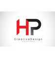 red and black hp h p letter logo design creative vector image vector image