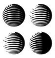 rotating sphere speed lines symbol vector image vector image