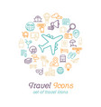 round line travel icons concept for traveling and vector image