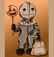sack scarecrow with a pumpkin orange candy vector image vector image