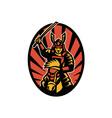 Samurai Warrior Riding Horse Katana vector image