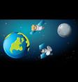 satellites around earth scene vector image vector image