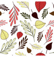 seamless pattern with autumn branches and leaves vector image