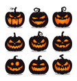 set halloween pumpkin black on white background vector image