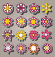 set of cartoon colored flowers in flat style vector image
