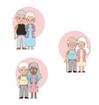 set of grandparents couple cartoons vector image vector image