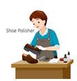 shoe polisher polishing man shoes vector image vector image