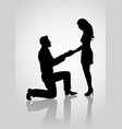 silhouette of a proposing man vector image vector image