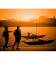Silhouettes of Tourists and Docked Boats on a vector image vector image