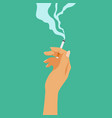 smoking addiction concept cigarette in hand bad vector image