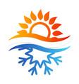 snowflake and sun symbol vector image vector image