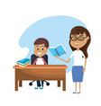 teacher woman educated the student vector image