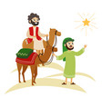 three wise men on camels going to bethlehem vector image vector image