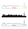 Tokyo V2 skyline linear style with rainbow vector image vector image