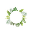 tropical leaves frame with space for text banner vector image vector image