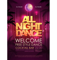 Typography Disco background Disco poster all nigh vector image vector image