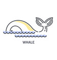 whale half seen above ocean water line icon with vector image