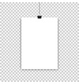 white paper sheet or poster hanging on isolated vector image vector image