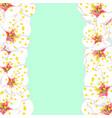 white plum blossom flower border on green mint vector image vector image