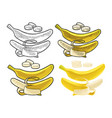 whole and half peeled banana black vintage vector image vector image