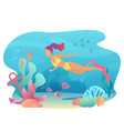 woan snorkeling swims underwater with sea flora vector image vector image