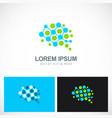dot technology brain logo vector image