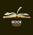 open book logo flat design bookstore symbol vector image