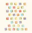 alphabet with numbers childish font colorful toy vector image