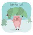a cute pig keeping green fir tree christmas vector image