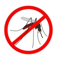 Anti mosquito sign with a realistic mosquito vector image vector image