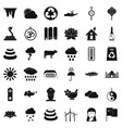 asian location icons set simple style vector image vector image