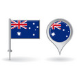 Australian pin icon and map pointer flag vector image