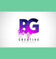 bg b g purple letter logo design with liquid vector image vector image
