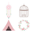 bohemian and vintage set icons vector image
