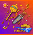 bow and arrow of lord rama and ten headed ravana vector image vector image