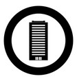 building icon black color in circle vector image vector image
