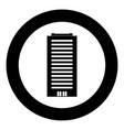 building icon black color in circle vector image
