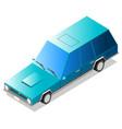 cartoon blue old retro flat isometric long car vector image vector image