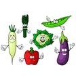 Cartoon organic garden vegetables characters vector image vector image