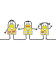 cartoon protesting people with yellow jackets vector image vector image