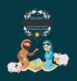 christmas nativity religious bethlehem crib scene vector image vector image