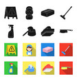 cleaning and maid blackflet icons in set vector image vector image