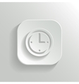 Clock icon - white app button vector image vector image