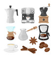 coffee makers icons vector image