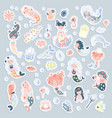 collection cute cartoon mermaids vector image vector image