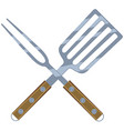 colorful cartoon bbq fork spatula cross vector image vector image
