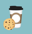 disposable coffee cup and chocolate chip cookie vector image