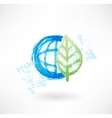 Eco globe grunge icon vector image