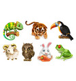 Funny animal set Cartoon character 3d icon vector image vector image